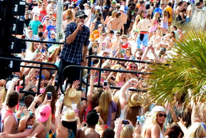 Country star Luke Bryan performs a free spring break concert at the Spinnaker Beach Club in Panama City Beach, Fla.