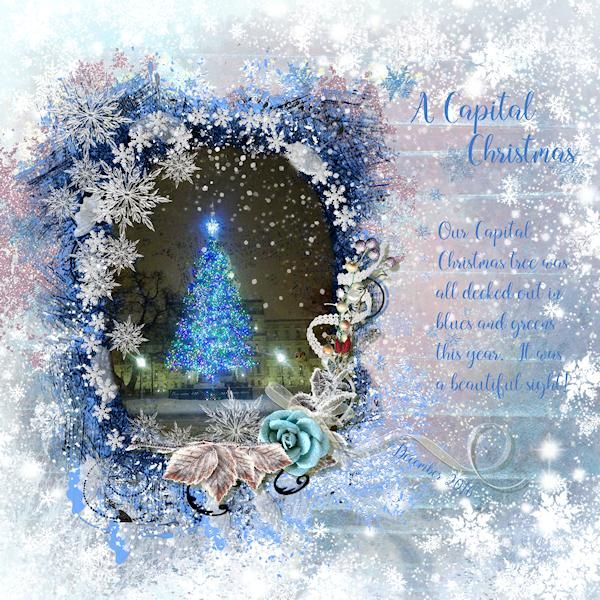 What a fun layout this was!  This was the tree in front of our State Capital of Michigan this year.  Actually, it's more green than blue, but it photographs blue, and Ben's kit was perfect for it!  I used Winter Wisdom by Benthai Creations.  You can find this kit here: https://www.digitalscrapbookingstudio.com/benthaicreations/?subcats=Y&status=A&pshort=Y&pfull=Y&pname=Y&pkeywords=Y&search_performed=Y&category_id=&q=winter+wisdom  Font is mallina