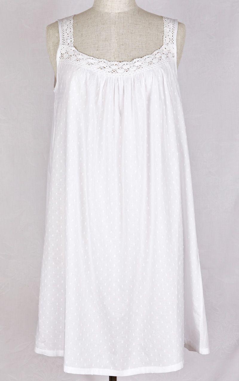 070877242e7 Womens Nightie - French Country Sleepwear - 160 White Sleeveless Hail Spot
