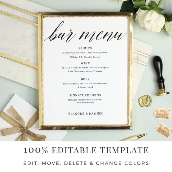 Wedding Bar Menu Template, Editable Bar Menu Printable, Word or - bar menu template