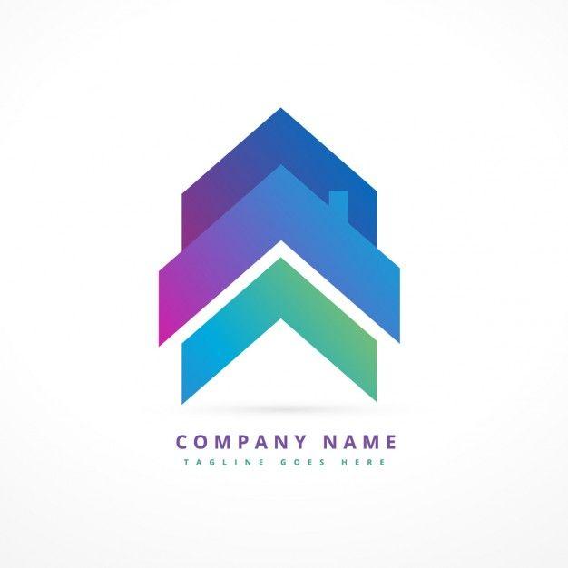Logo de empresa con una casa flecha vector gratis mint for Logo de empresa gratis
