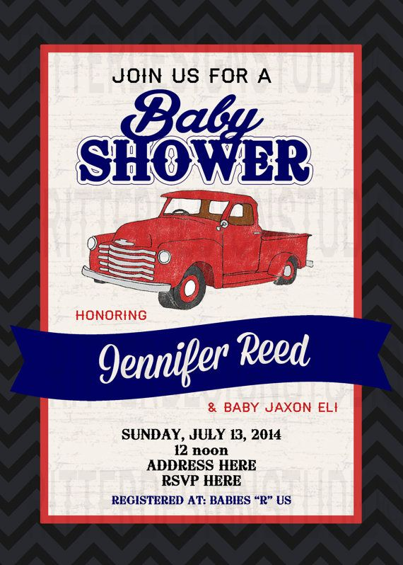 Baby Shower Themes Cars ~ Old vintage truck baby shower invitation printable