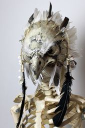 Falcon Bird Mask White Full head  Paper Mask Falcon Bird Mask White Full head  Paper Mask