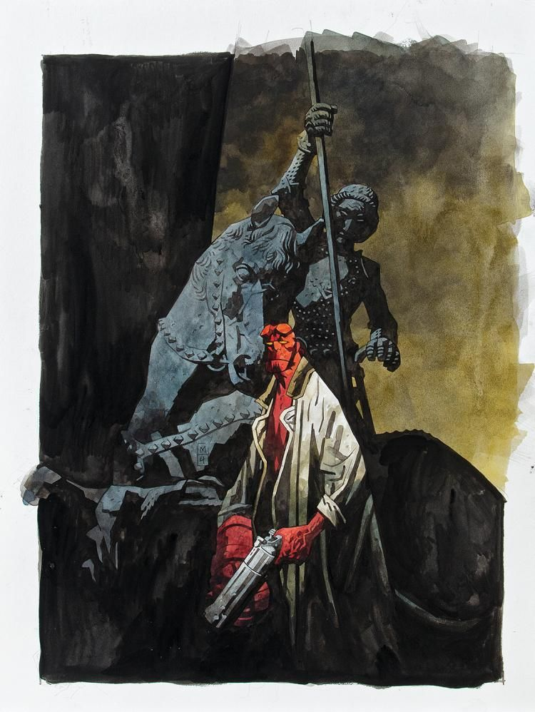 Mike Mignola signed original Hellboy illustration.