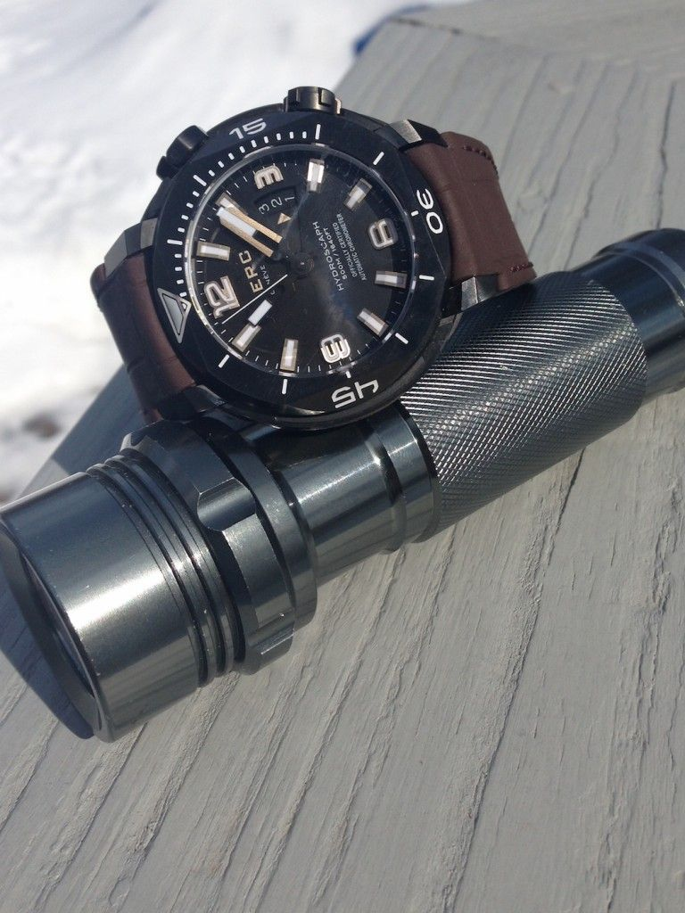 Clerc Hydroscaph H-1 is water resistant to 500 meters.