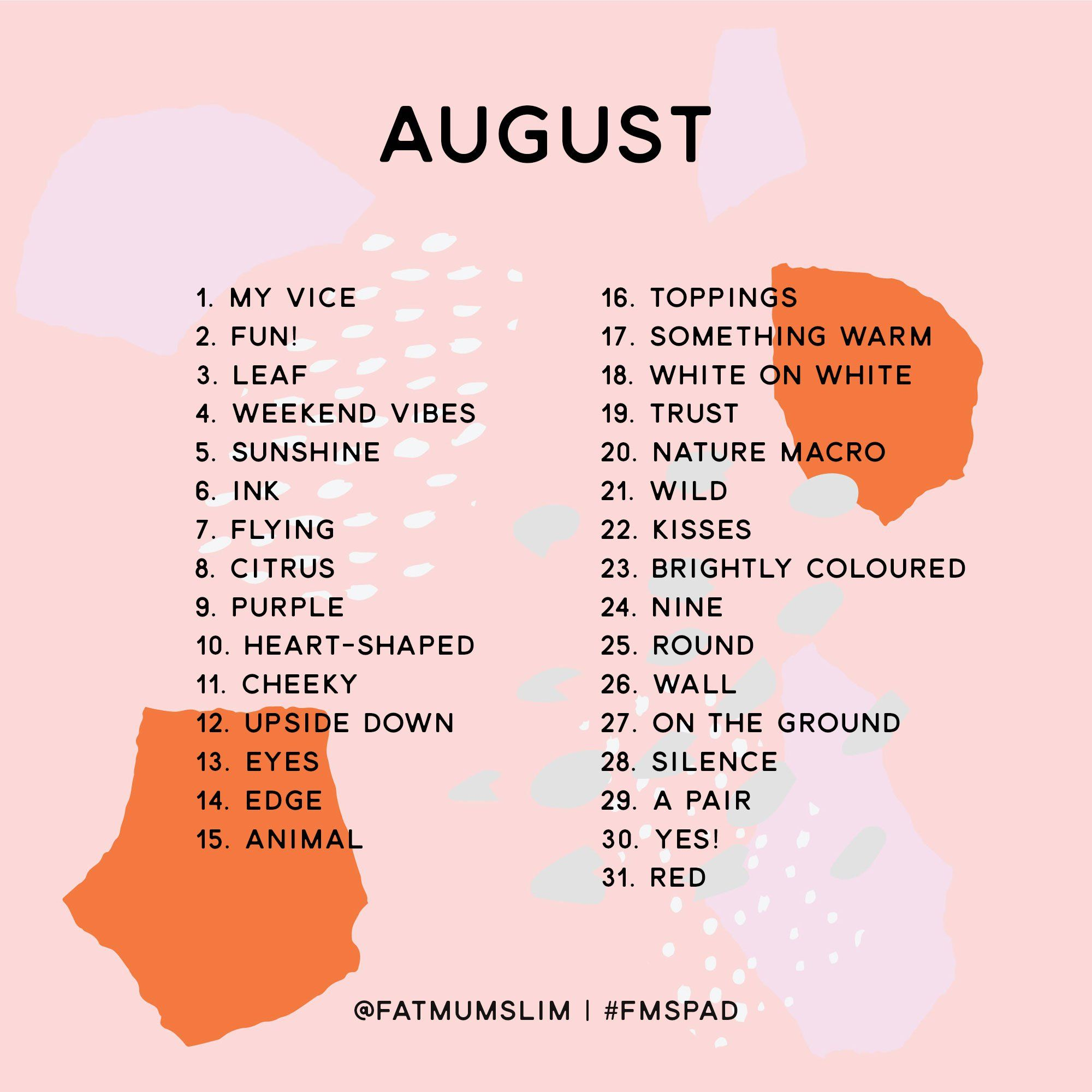 August 2018 Photo A Day Challenge