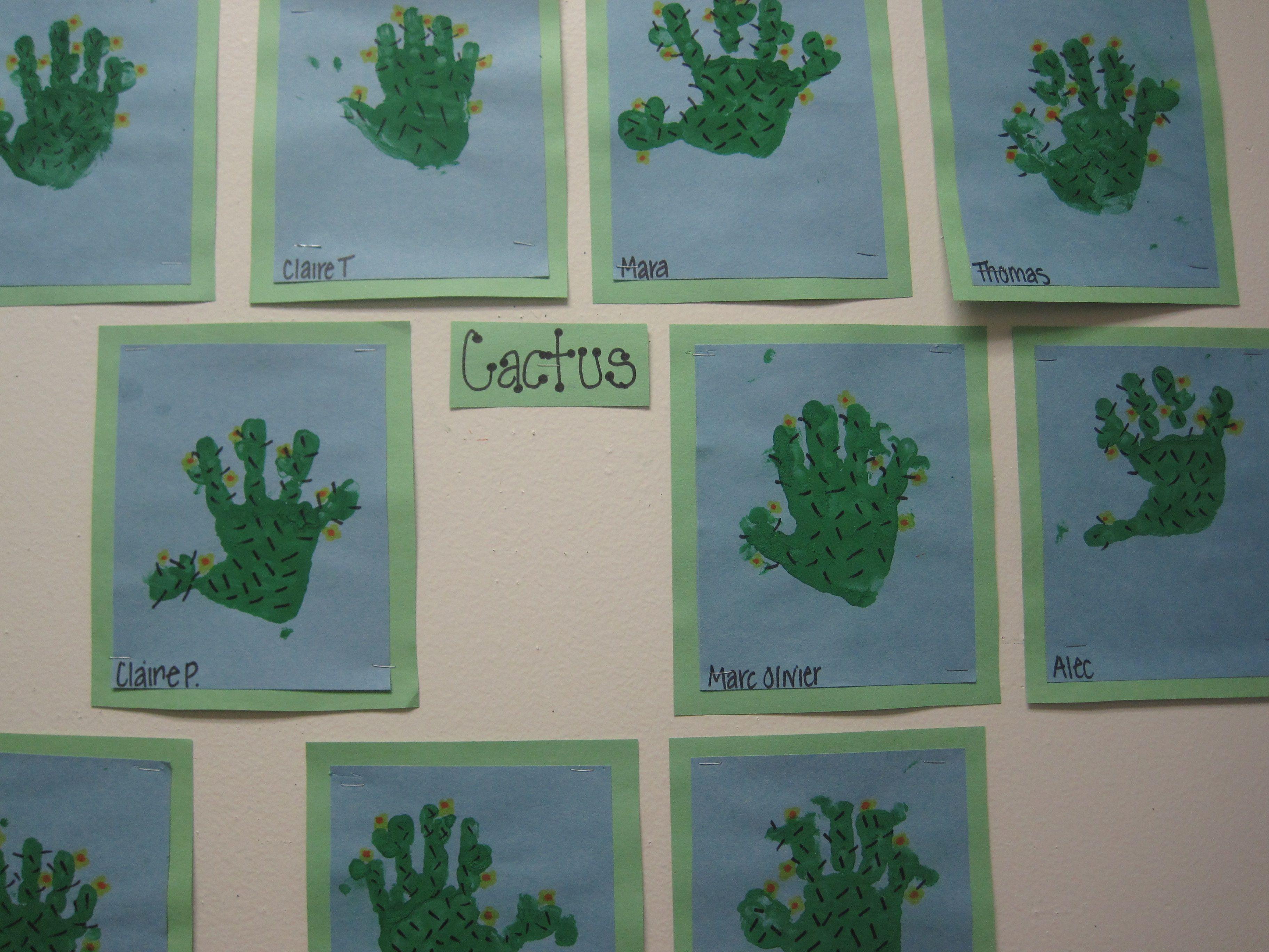 Hand Print Cactus For Desert Themed Week