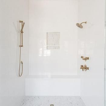 white and gray marble interlocking circles shower accent