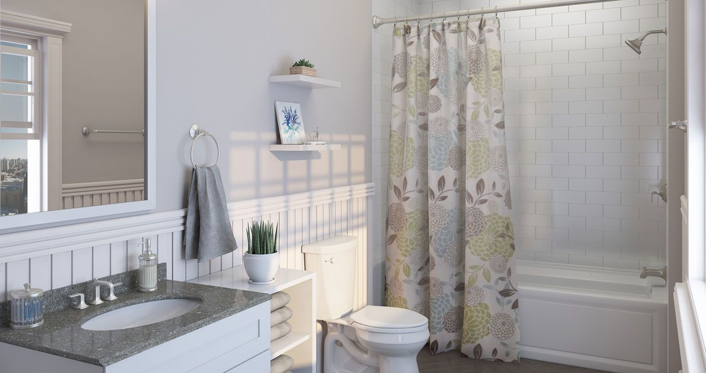 Shop Our Decor Department To Customize Your Attractive En Suite Today At The Home Depot Tub And Shower Faucets Guest Bathroom Remodel Small Bathroom Remodel [ jpg ]