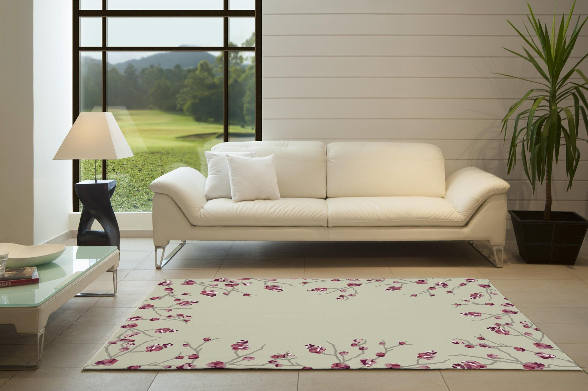 Pine Hollow Cherry Blossom Beige Area Rug