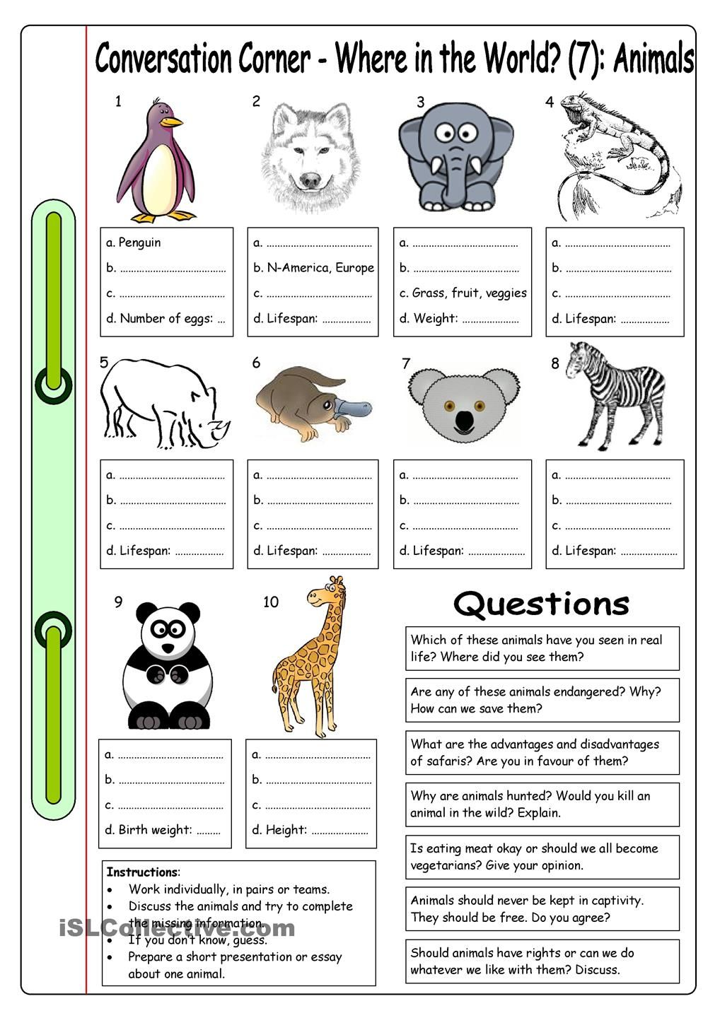 Worksheets Endangered Species Worksheets conversation corner where in the world 7 animals school this worksheet with 10 and questions can be used as a basis for an informal discussion about countri