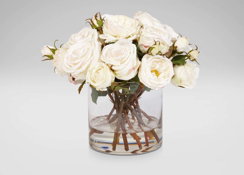 Mixed White Roses in Glass