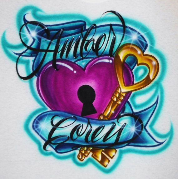 99be5640d216 Airbrush T Shirt Couples Key To My Heart Two Names, Airbrush Couples Shirt…