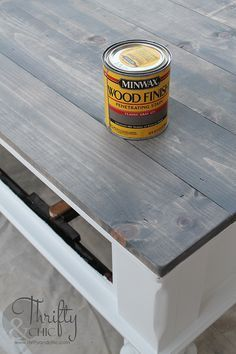 Farmhouse Style Coffee Table Makeover How To Update An Old Into A Cute One With Minwax Classic Grey Stain