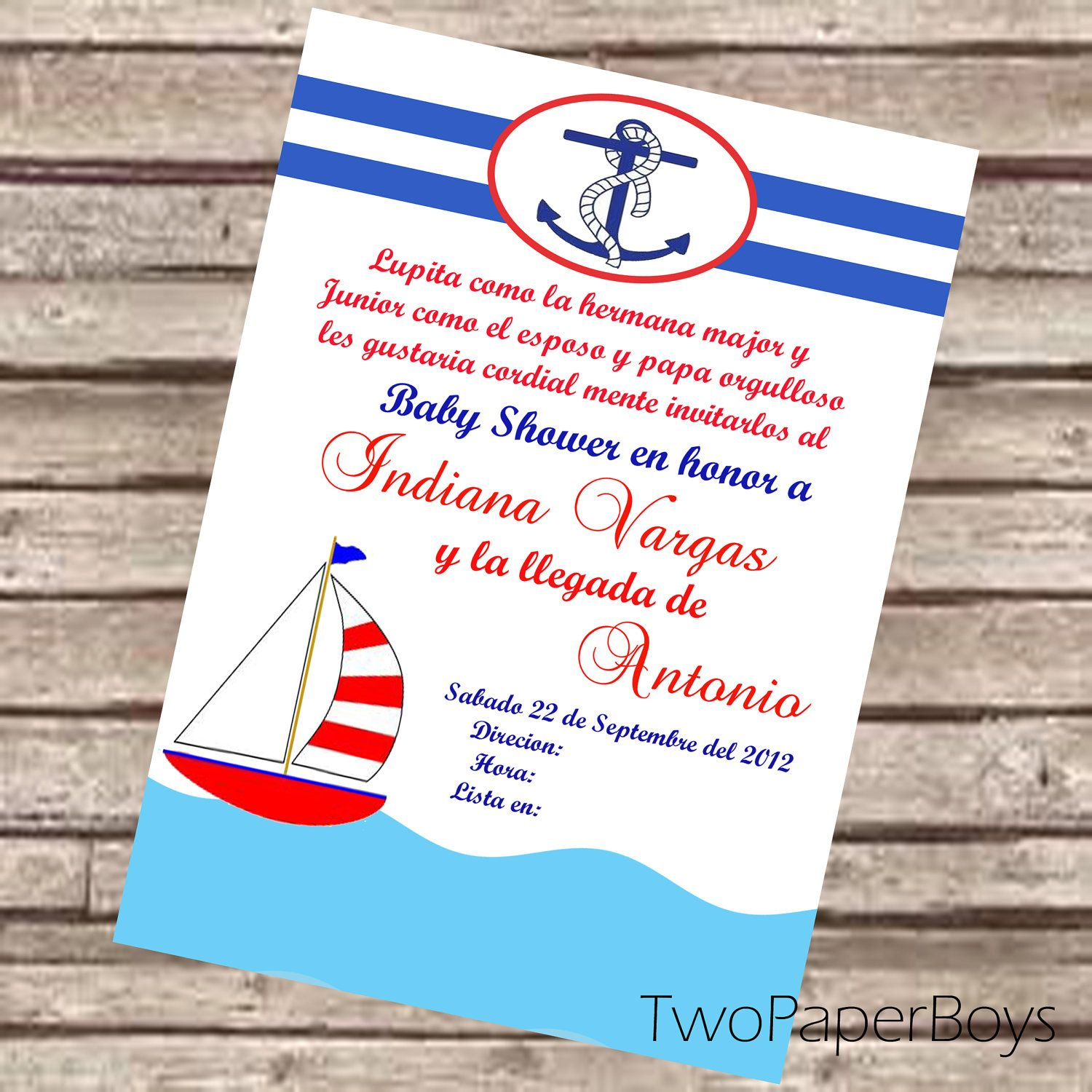 Natical or Marine Baby Shower Invitation in Spanish or English ...
