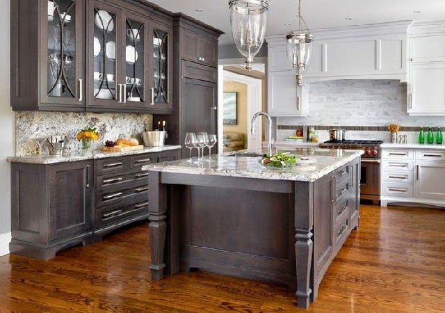 Dark Wood Glass Kitchen Cabinets With Mix Of Light Kitchens