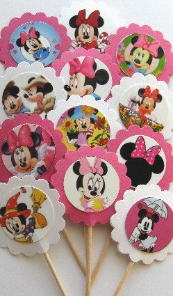 Minnie Mouse  Cupcake Toppers/Party Picks (item 93) on Etsy, $6.39 AUD