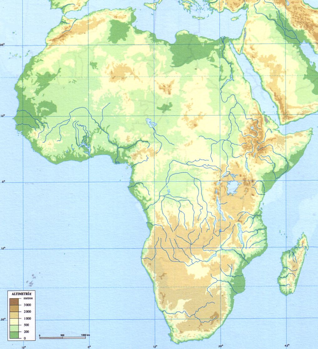 Africa Fisico Jpg 1 015 1 115 Pixeles Geografia E Historia Mapa