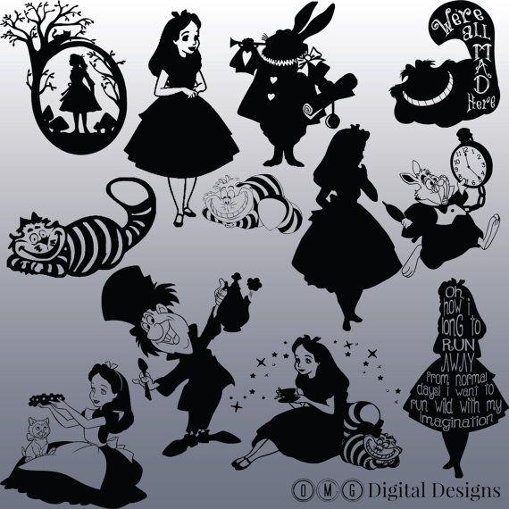 12 Alice In Wonderland Silhouette Bilder von OMGDIGITALDESIGNS | Art ...