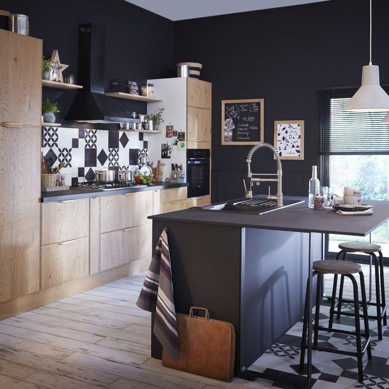 Cuisine Bois Fonce Et Plan De Travail Noir Faure Contemporain