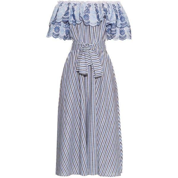 Gül Hürgel Off-the-shoulder ruffle-trimmed striped midi dress (16 835 UAH) ❤ liked on Polyvore featuring dresses, blue multi, off shoulder dress, blue dress, stripe midi dress, striped dress and blue stripe dress