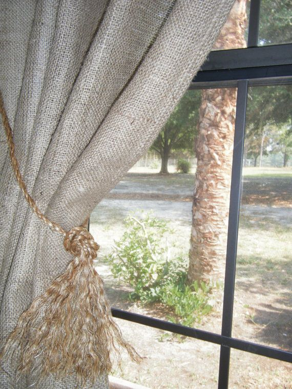 Burlap  Curtain Panel  with Jute Tieback 38w X by BurlapCountry, $25.00
