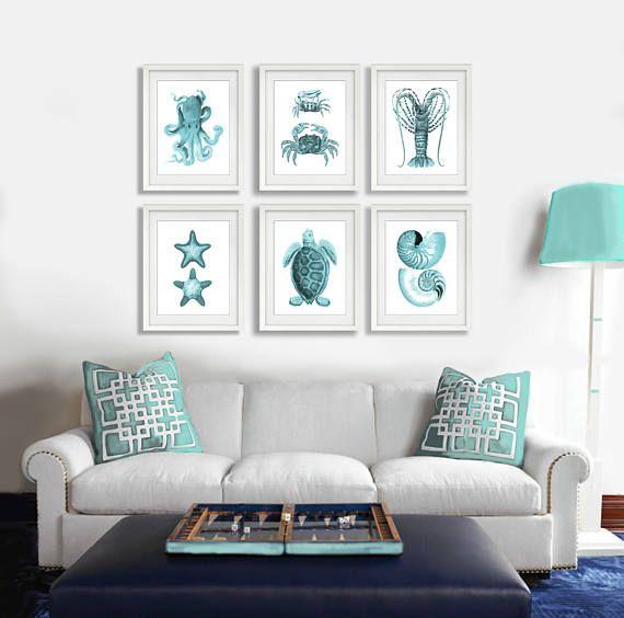 Beach Wall Art Turquoise Decor Set Of 6 Art Prints Seashells