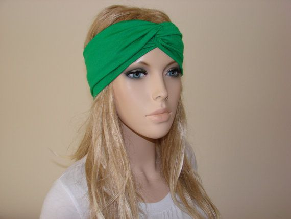 Kelly Green Turban Headband jersey knit Irish by OtiliaBoutique ... 221220d702d