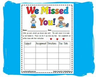 """When students are absent, place one of these """"We Missed You"""" pages at their desk. Each time you hand out a new assignments, attach it to the sheet with directions. At the end of the day, you have a form, and all of the work for when your student returns."""