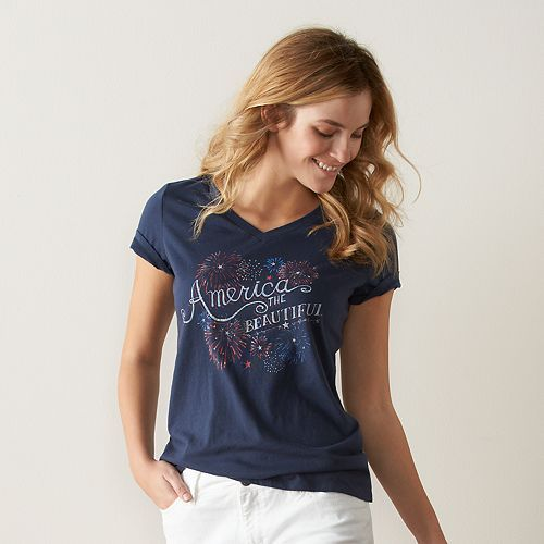 77327a4d3b2 Women s SONOMA Goods for Life™ V-Neck Patriotic Graphic Tee
