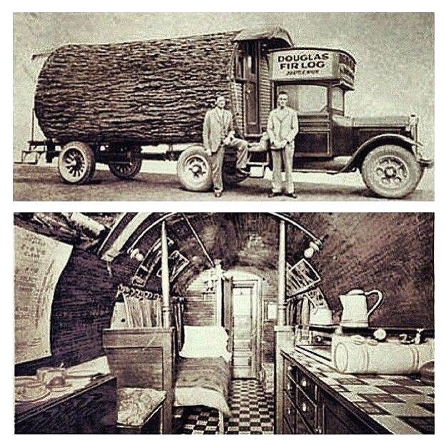Vintage camper made from a fir trees