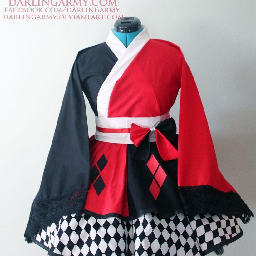 Harley Quinn Batman Cosplay Kimono Dress Wa Lolita Skirt Accessory | Darling Army