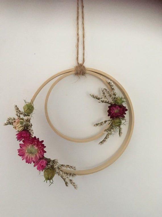 Dried Flower Hoop In 2021 Embroidery Hoop Decor Hanging Flower Wall Hoop Crafts