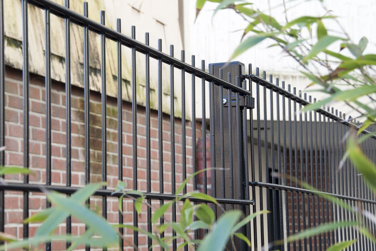 Galvanized welded double wire fence panels | metal fencing ...