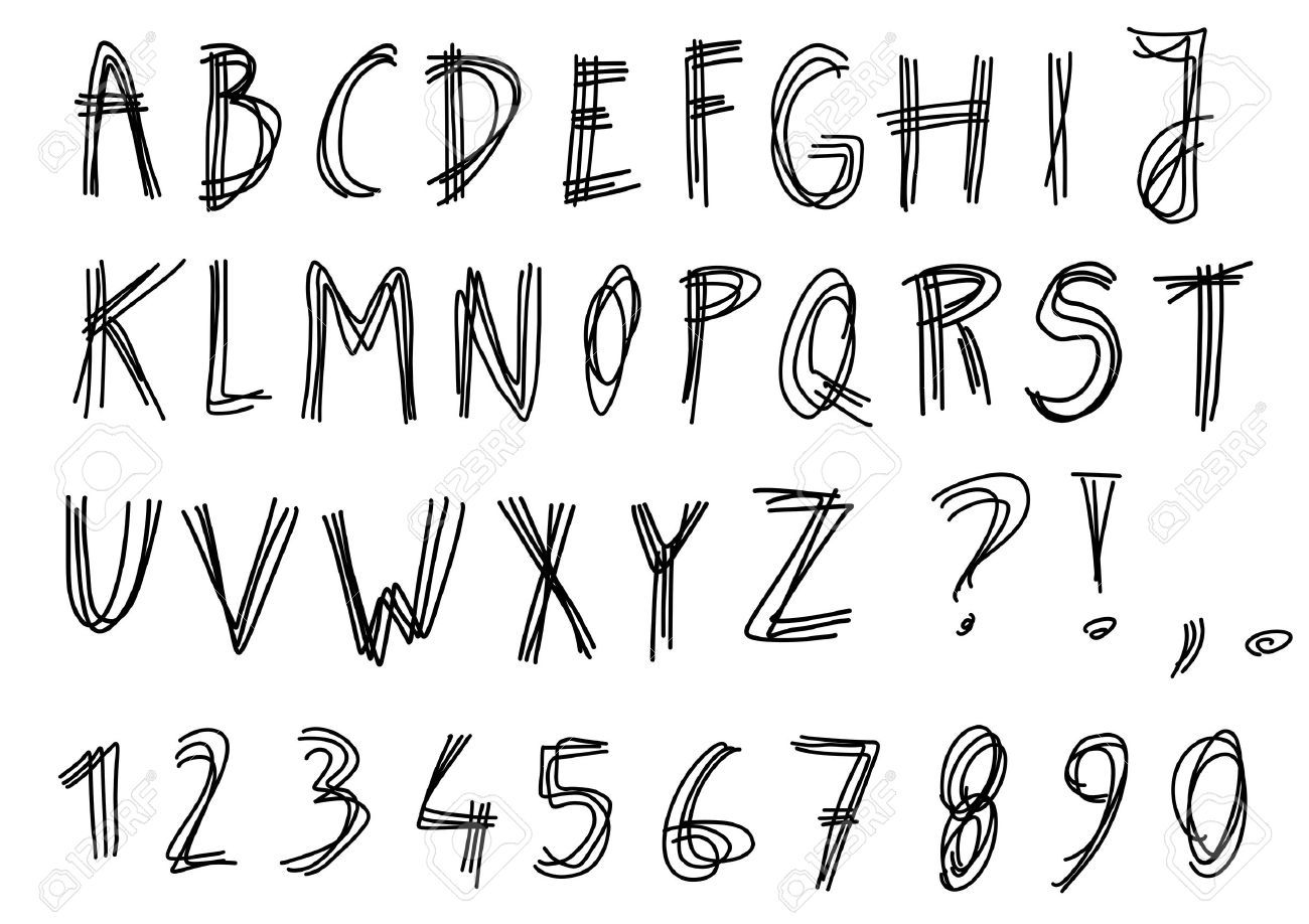 hand lettering fonts 2 written alphabet scribbled sketched letters 1273