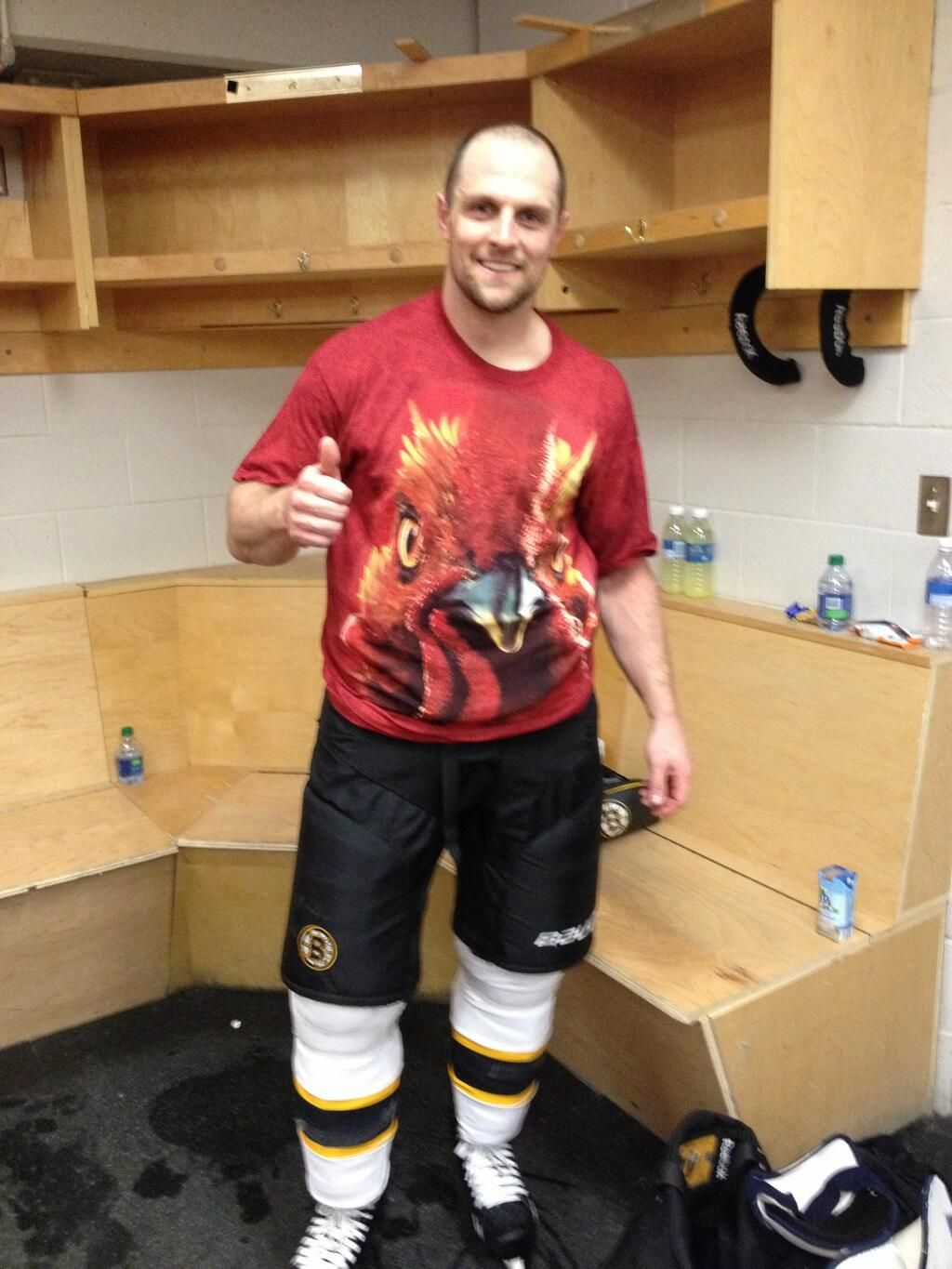 size 40 d77ec 3238f Dennis Seidenberg was awarded the red rooster shirt tonight ...