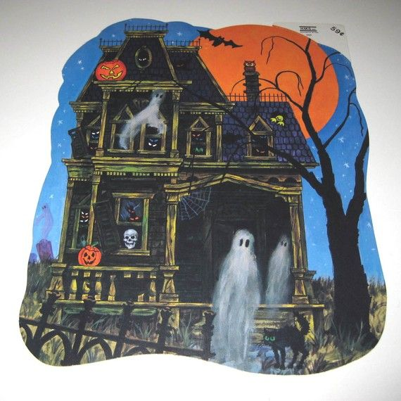 Vintage Die Cut Halloween Decoration Of Haunted House With Ghosts