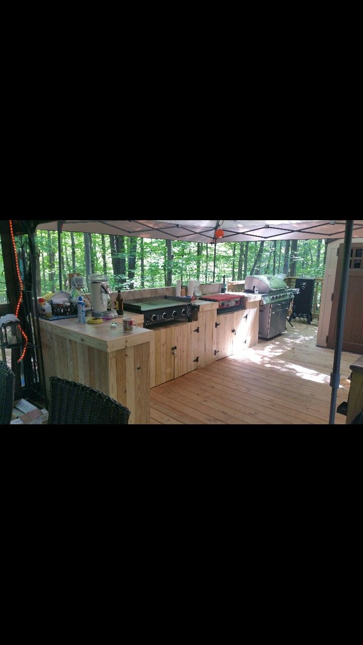 Rv Deck Outdoor Kitchen With Out Door Griddle Stove Top And Grill Outdoor Cooking Station Outdoor Kitchen Design Outdoor