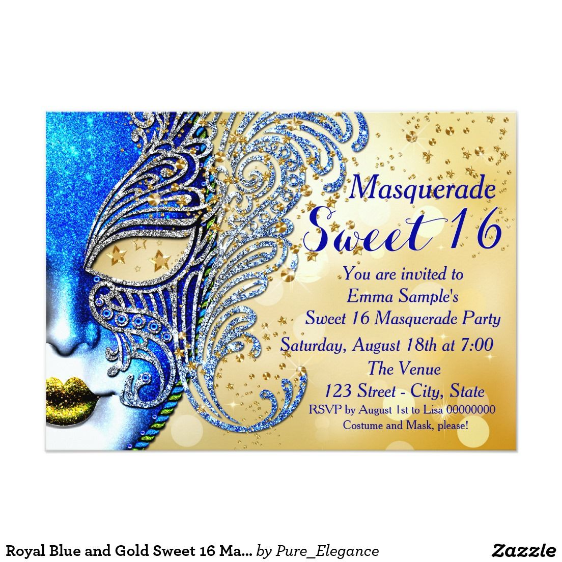 Royal Blue and Gold Sweet 16 Masquerade Party Invitation | Sweet ...