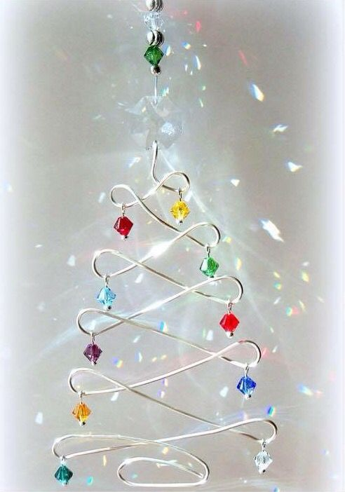 wire and bead tree ornament. might need to make a quick bending jig for this