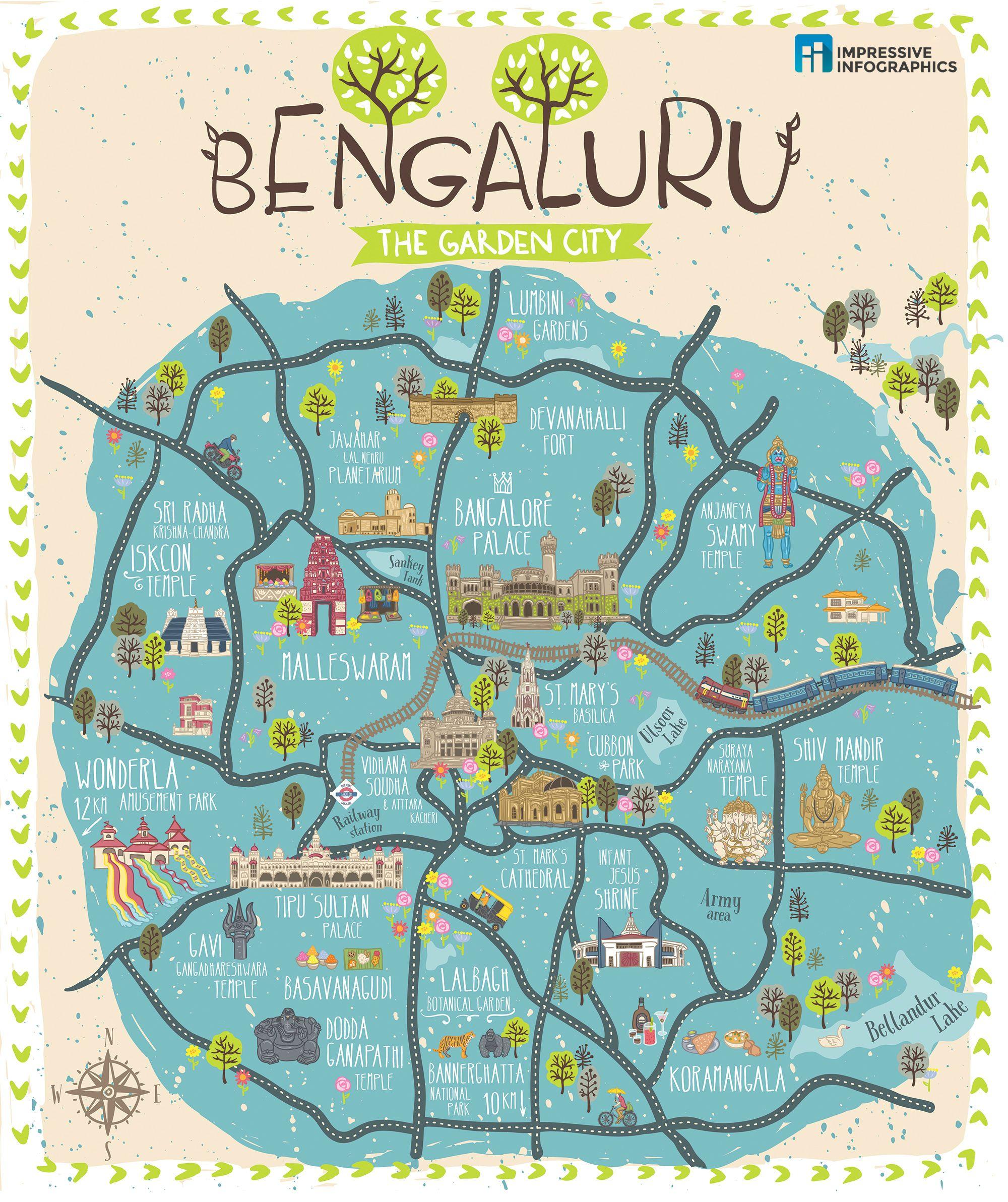 A Hand Drawn Map Of Bengaluru In 2020