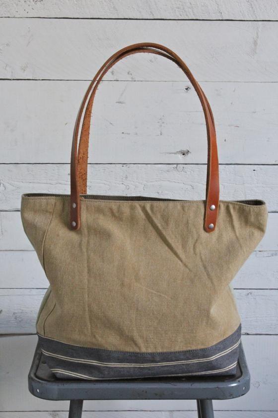 e0e139696be8 Bag · WWII era Pieced Canvas Tote Bag