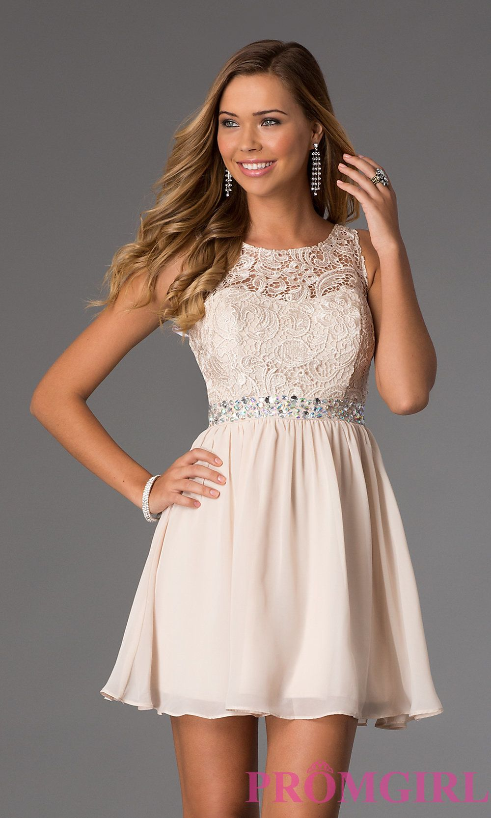 Image of Short Sleeveless Dress with Lace Bodice Style: MQ-836564 ...