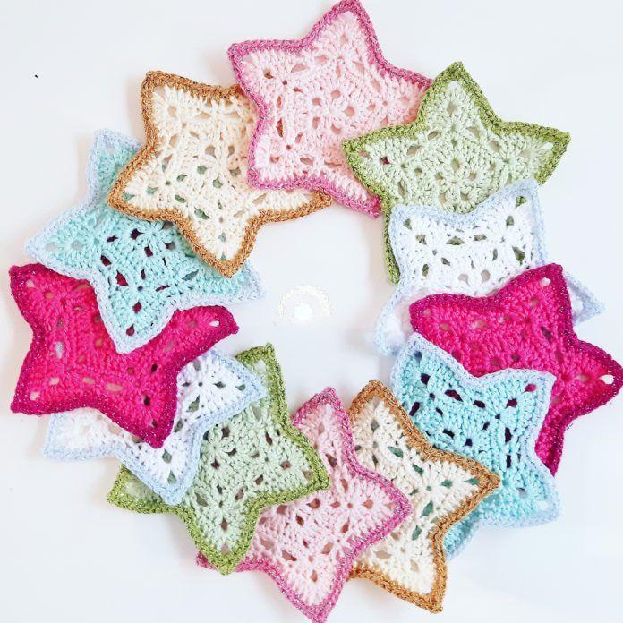 Gratis Haakpatroon Kerststerren Kerst Navidad Croché En Ganchillo