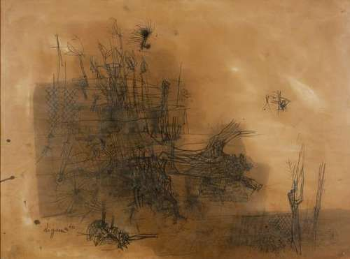 Giuseppe Zigaina (Italian, b. 1924), Studio n.5, 1960. Mixed media on paper, 75 x 100 cm.