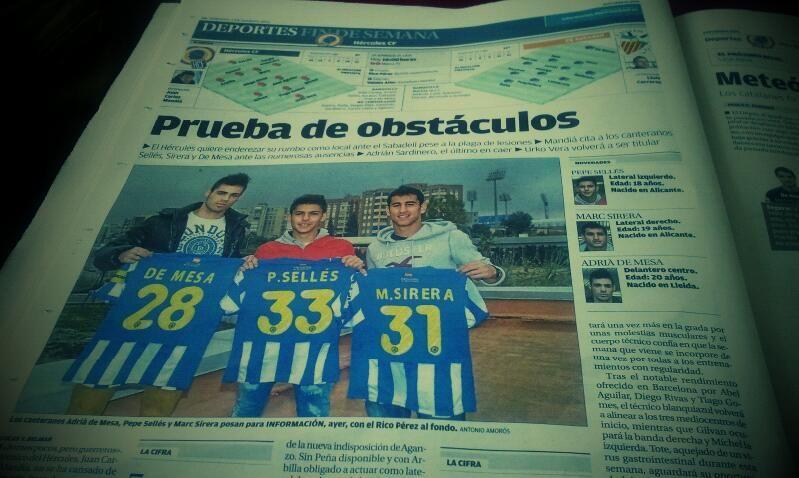 Los canteranos De Mesa, Sellés y Sirera convocados para el partido de hoy contra el Sabadell.