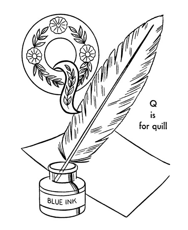 Quill For Alphabet Letter Q Coloring Page Bulk Color in