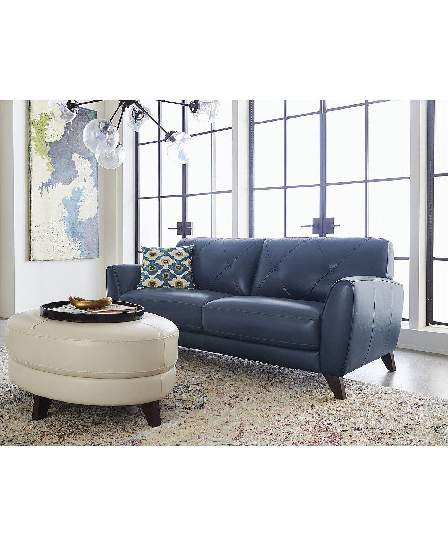 Furniture Myia 82 In 2020 Blue Leather Sofa Leather Sofa Furniture