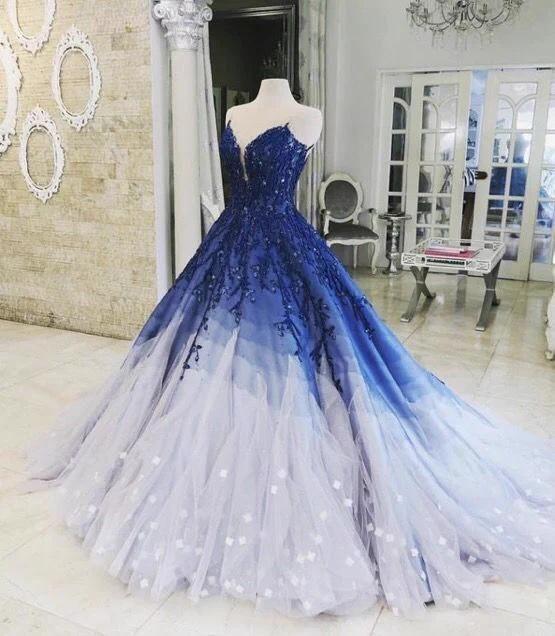 A-ligne de robe de bal Ombre avec appliques bleu royal robes de bal Robe de soir #bluepromdresses