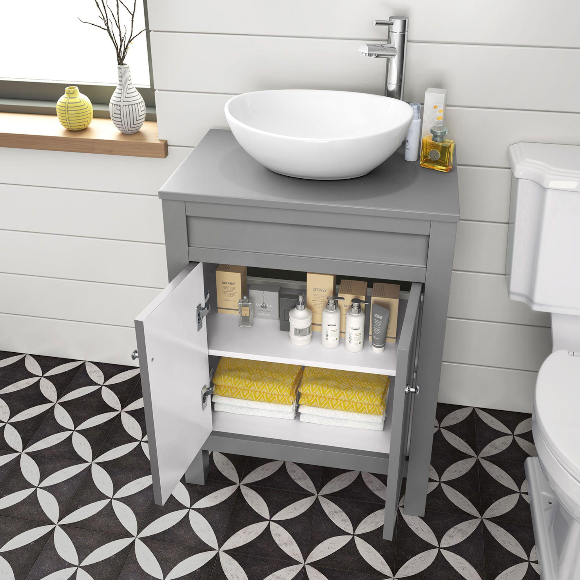 600mm Melbourne Grey Countertop Unit Camila Basin Floor Standing Grey Countertops Countertop Basin Bathroom Countertop Basin